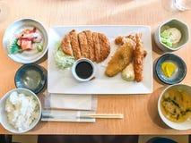 Кудрявый зажаренный свинина, креветка, цыпленок - tonkatsu Стоковые Изображения