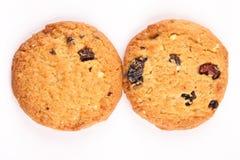 2 кудрявых испеченных печенья плодоовощей овсяной каши сухих, Стоковая Фотография RF