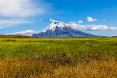 Культивируемые поля и вулкан Котопакси Стоковая Фотография