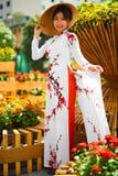 Культура Азия Азиатская женщина в традиционном платье (одеждах), Coni Стоковое фото RF