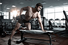Культурист тренируя назад с гантелью в спортзале стоковое фото rf