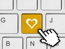 Клавиатура компьютера с ключом влюбленности Стоковые Изображения