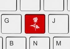 Клавиатура компьютера с ключом цветка Стоковые Фотографии RF