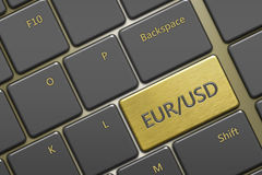 Клавиатура компьютера с парами валюты: eur/usd кнопки Стоковое фото RF