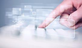Клавиатура руки касающая с высокотехнологичными кнопками Стоковая Фотография