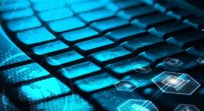 Клавиатура с накаляя значками мультимедиа Стоковое Фото