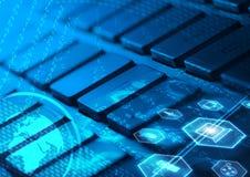Клавиатура с накаляя значками мультимедиа Стоковая Фотография RF