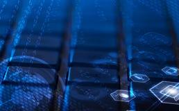 Клавиатура с накаляя значками мультимедиа Стоковые Фотографии RF