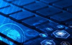 Клавиатура с накаляя значками мультимедиа Стоковое Изображение RF
