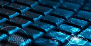 Клавиатура с накаляя значками мультимедиа Стоковые Фото