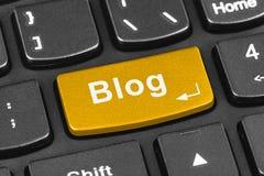 Клавиатура тетради компьютера с ключом блога Стоковая Фотография RF