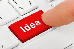 Клавиатура тетради компьютера с ключом идеи Стоковое Изображение RF