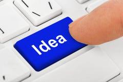 Клавиатура тетради компьютера с ключом идеи Стоковые Изображения