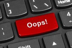 Клавиатура тетради компьютера с Oops ключом Стоковая Фотография RF