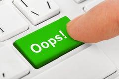 Клавиатура тетради компьютера с Oops ключом Стоковое Изображение RF