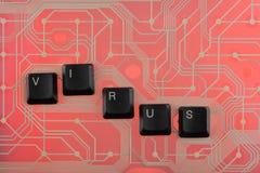 Клавиши на клавиатуре клали вне вирус слова Стоковое Изображение RF
