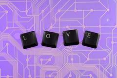 Клавиши на клавиатуре клали вне влюбленность слова Стоковые Фотографии RF
