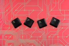 Клавиши на клавиатуре клали вне спам слова Стоковая Фотография