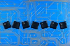 Клавиши на клавиатуре клали вне слово цифровое Стоковое Фото