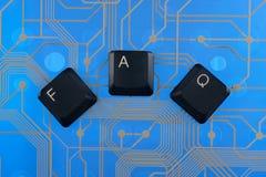 Клавиши на клавиатуре клали вне Ч.З.В. слова Стоковые Изображения