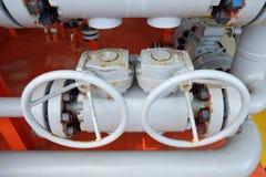 Клапаны ручные в производственном процессе Стоковая Фотография
