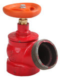 Клапан жидкостного огнетушителя красного цвета железный вкосую крытый с внешним потоком Стоковое Изображение RF