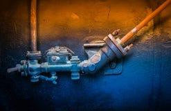 Клапан старого железного бочонка с химикатом Стоковые Изображения
