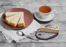 Классика Нью-Йорк чизкейка тортов Стоковые Фото