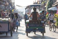 Классическая автоматическая рикша на Chaing Khan, Loei, Таиланде Стоковые Изображения RF