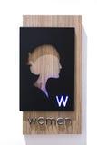 Классическая дама Голова Знак туалета общественного туалета Стоковые Изображения