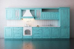 Классическая деревянная кухня покрашенная в бирюзе Стоковая Фотография RF