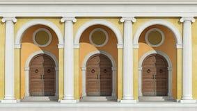 Классическая колоннада с парадными входами иллюстрация вектора