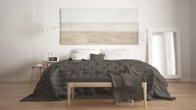Классическая спальня, скандинавский современный стиль, minimalistic interio Стоковая Фотография RF