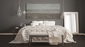 Классическая спальня, скандинавский современный стиль, minimalistic interio стоковое фото rf
