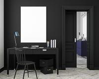 Классическая черная насмешка интерьера рабочего места вверх с таблицей, стулом, дверью, белым полом партера иллюстрация 3d предст Стоковые Фотографии RF