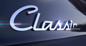 Классическая эмблема автомобиля хрома стоковое изображение rf