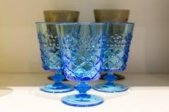 Классические голубые выпивая стекла Стоковая Фотография RF