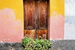 Классические итальянские двери на стенах покрасили пинк и апельсин Стоковые Изображения RF