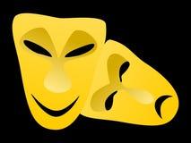Классические маски трагедии и комедии Стоковые Изображения