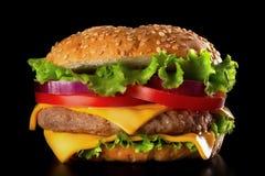 Классические плюшки бургера с семенами сезама, пирожком говядины, томатом, луком и салатом Стоковые Фото