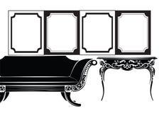 Классические рамки и мебель стены Стоковое фото RF