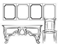 Классические рамки и мебель стены иллюстрация вектора