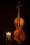 Классические скрипки с свечой Стоковое Фото