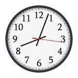 Классические черно-белые круглые настенные часы на белой предпосылке иллюстрация штока