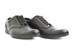Классические черные кожаные изолированные ботинки Стоковые Фото