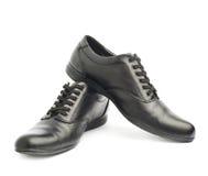 Классические черные кожаные изолированные ботинки Стоковые Фотографии RF