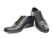 Классические черные кожаные изолированные ботинки Стоковая Фотография