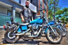 Классический американец Harley Davidson и всадник Стоковые Фотографии RF