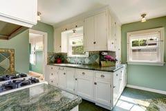 Классический американский интерьер комнаты кухни в зеленых и белых тонах Стоковое Фото