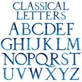 Классический голубой шрифт акварели Стоковое фото RF